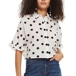TopShop FiFi Frill Polka Dot Cropped Shirt 6
